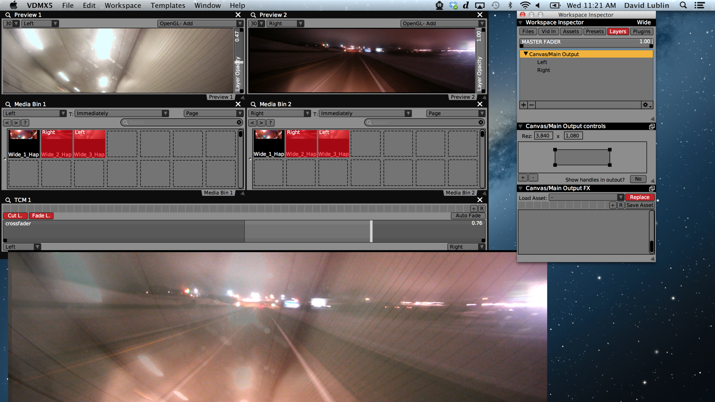 Crossfading between two 3840 x 1080 Hap encoded video clips in VDMX for dual output.