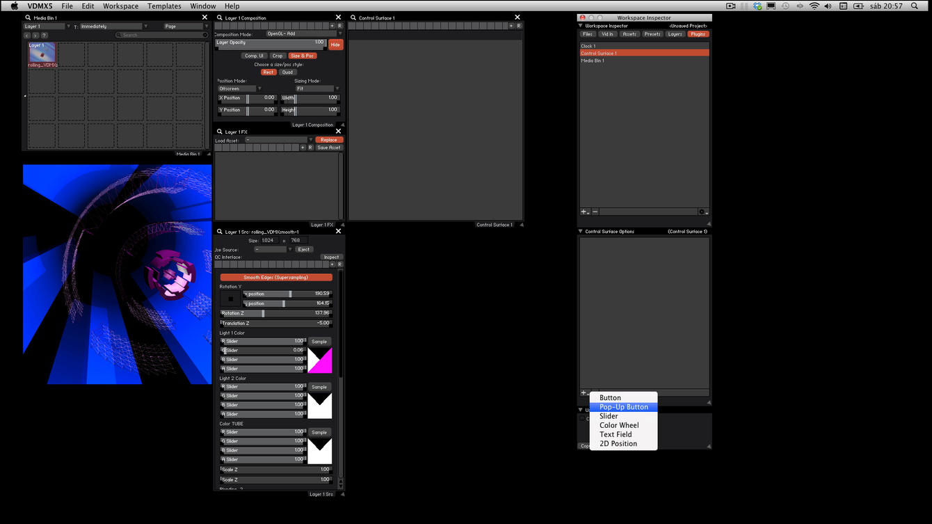 In the Control Surface Options window we can choose between buttons, Pop-Up Buttons, Sliders, Color wheels, Text fields and 2D Position.