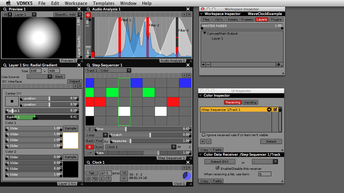 Completed example setup with Waveclock driven color sequencer and VDMX audio analysis.