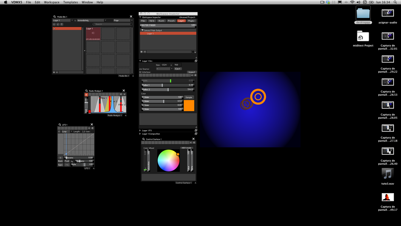 In VDMX create a Control Surface with a Color Wheel to colorize the images. The LFO sends data to the Color Wheel's HUE creating a color loop.