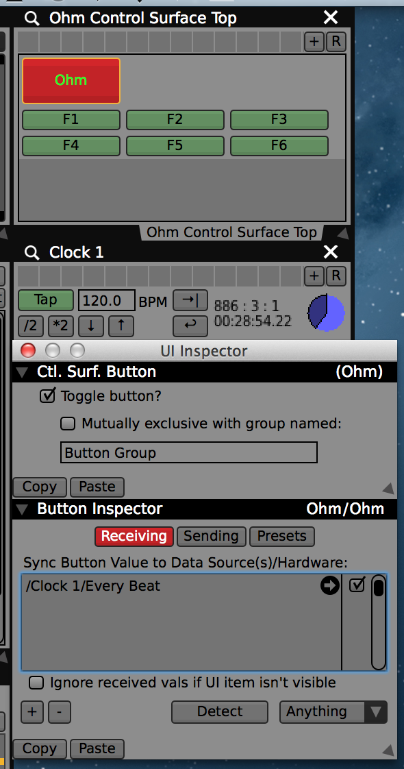 Using the 'Every Beat' data-source to light up a button on the Ohm.
