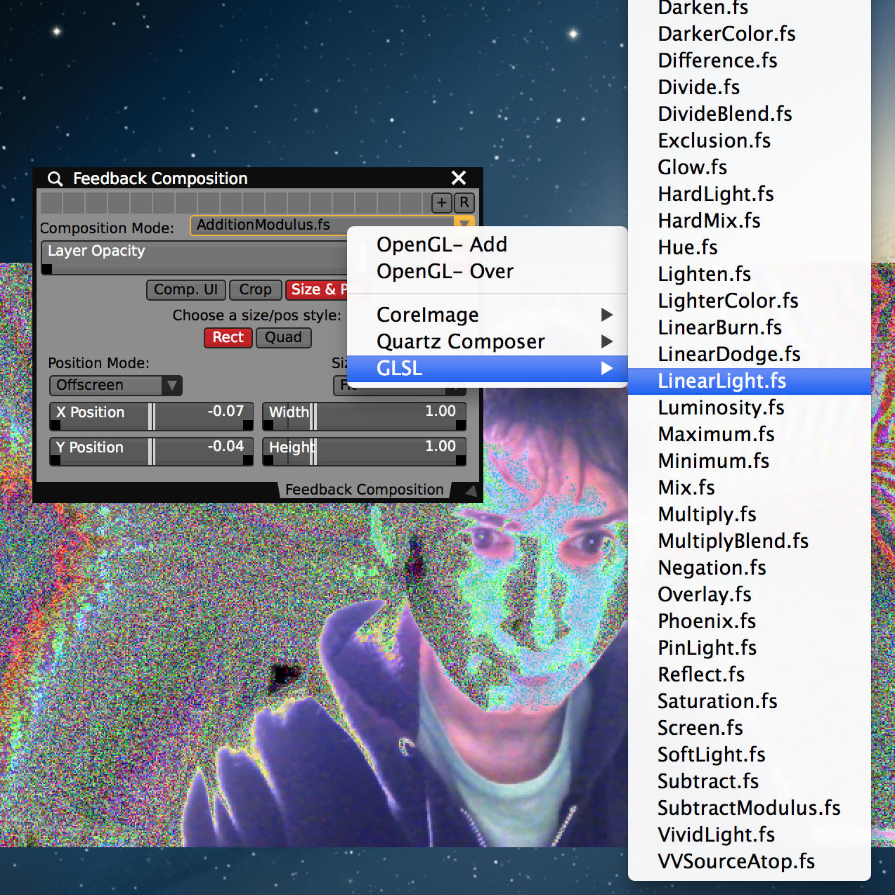 Try selecting different composition modes for the 'Feedback' layer to get glitch and other visual styles.
