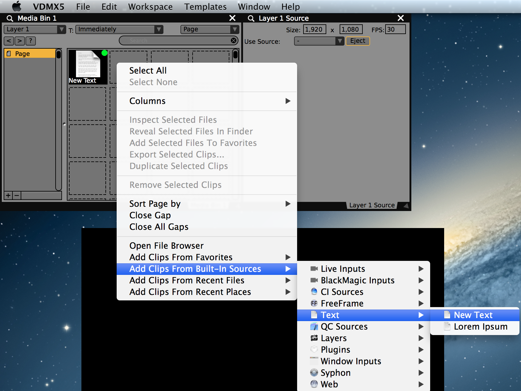 Text files can be loaded from a disk or created from the 'built in sources' contextual menu.
