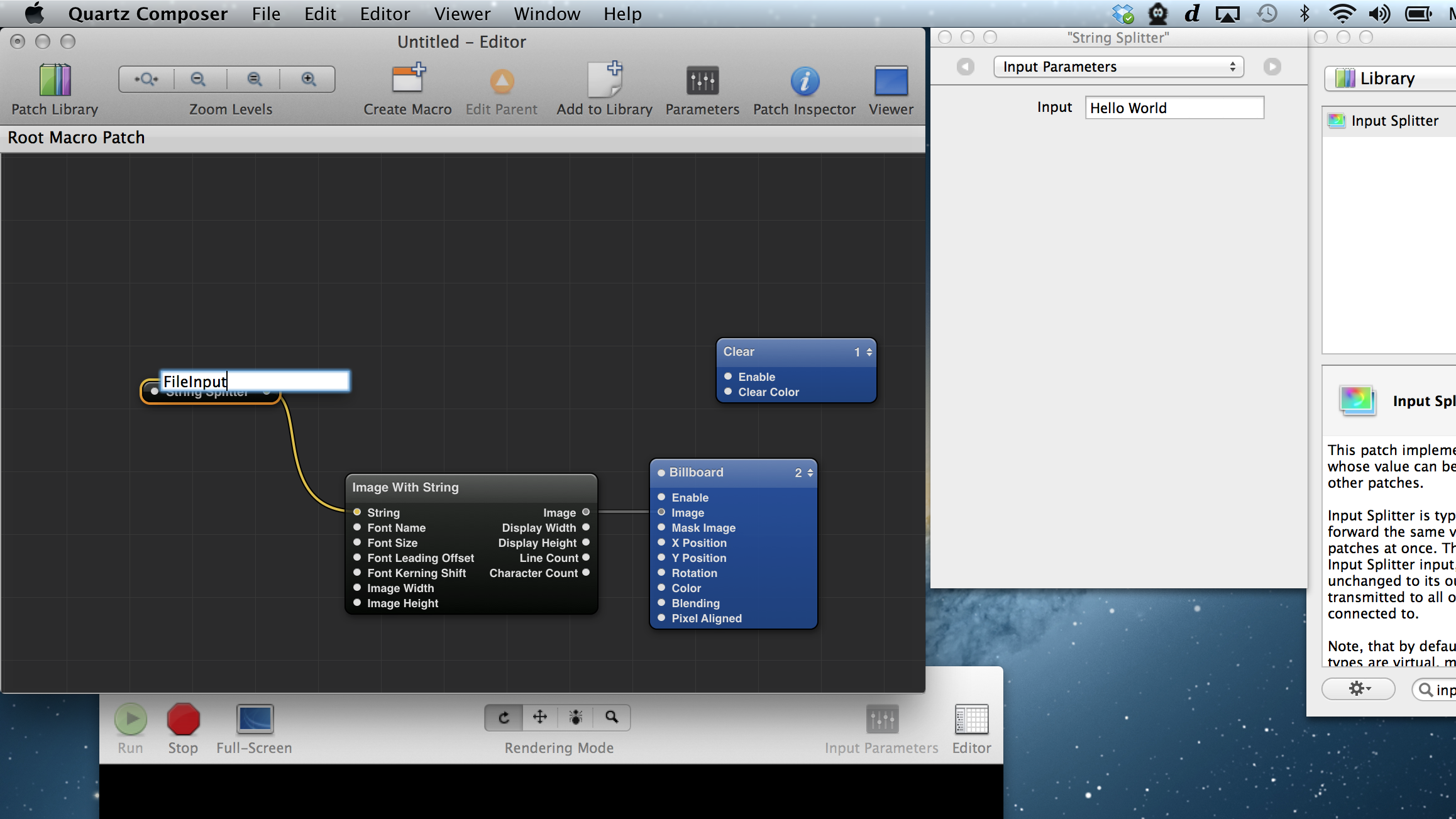 Adding an Input Splitter with the title 'FileInput' to create a qcTextSource patch.