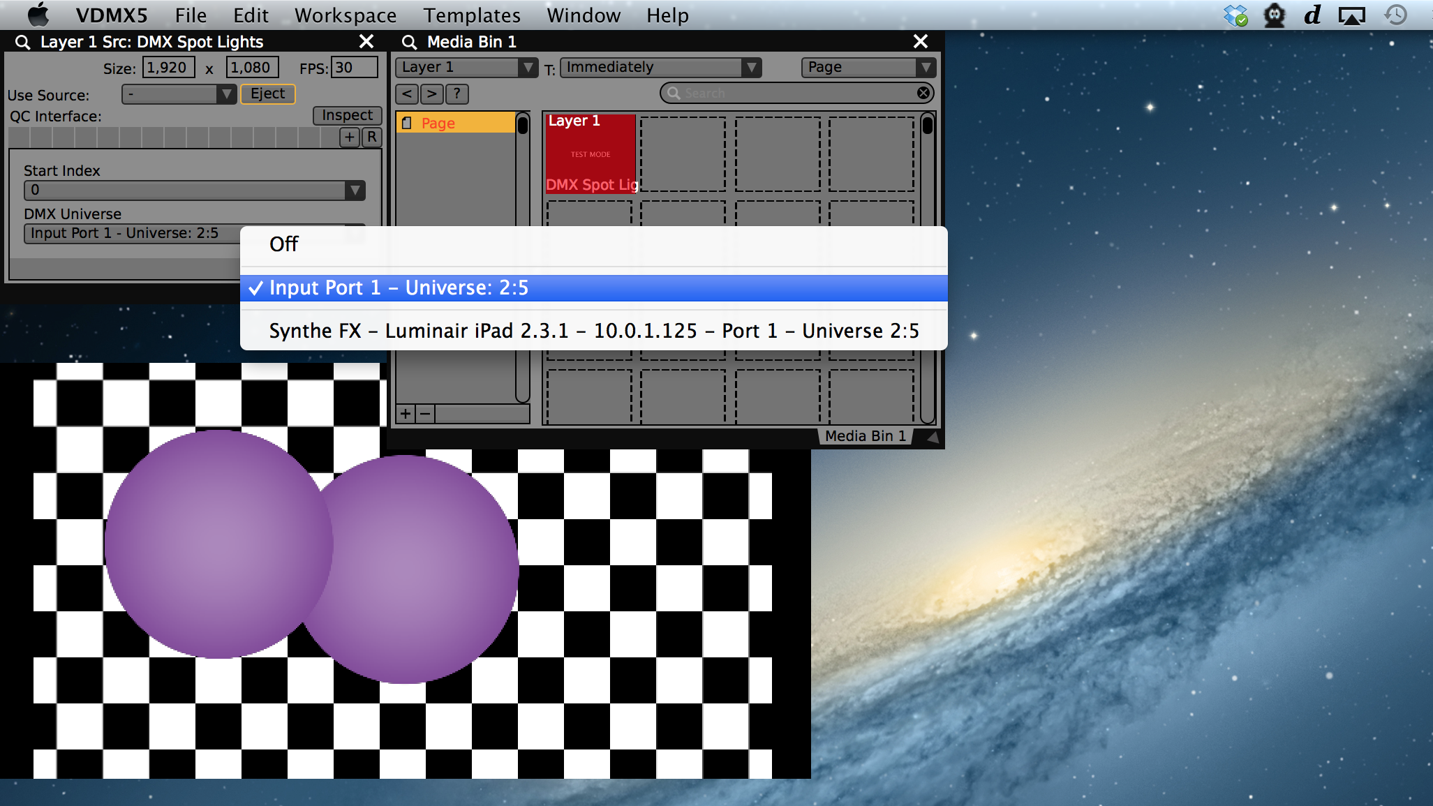 Pop-up menu for selecting an ArtNet universe to pass into the composition from the VDMX source controls.