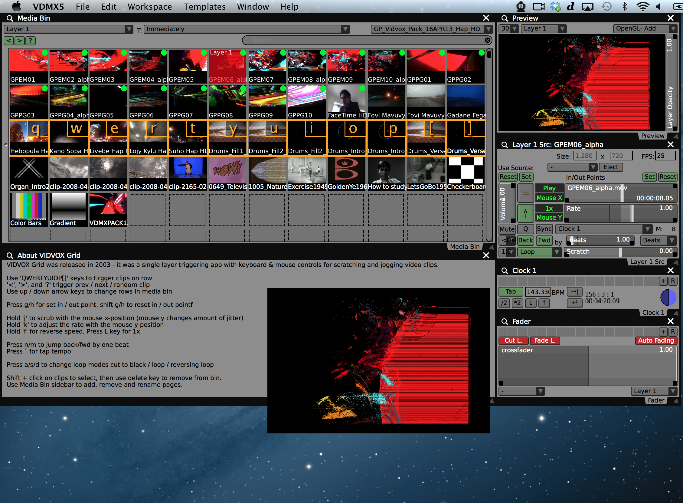 Screenshot of completed Grid template for VDMX.