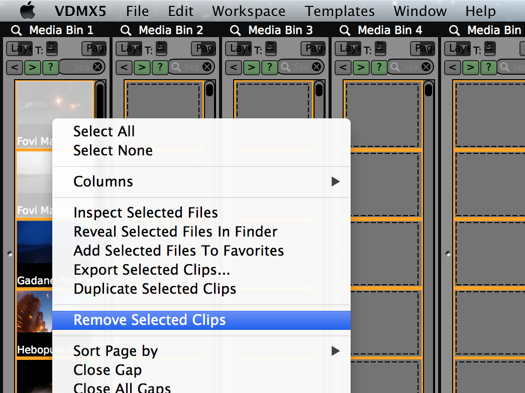 Shift + Click to select clips on a page. Right + Click to reveal contextual menu with file options.