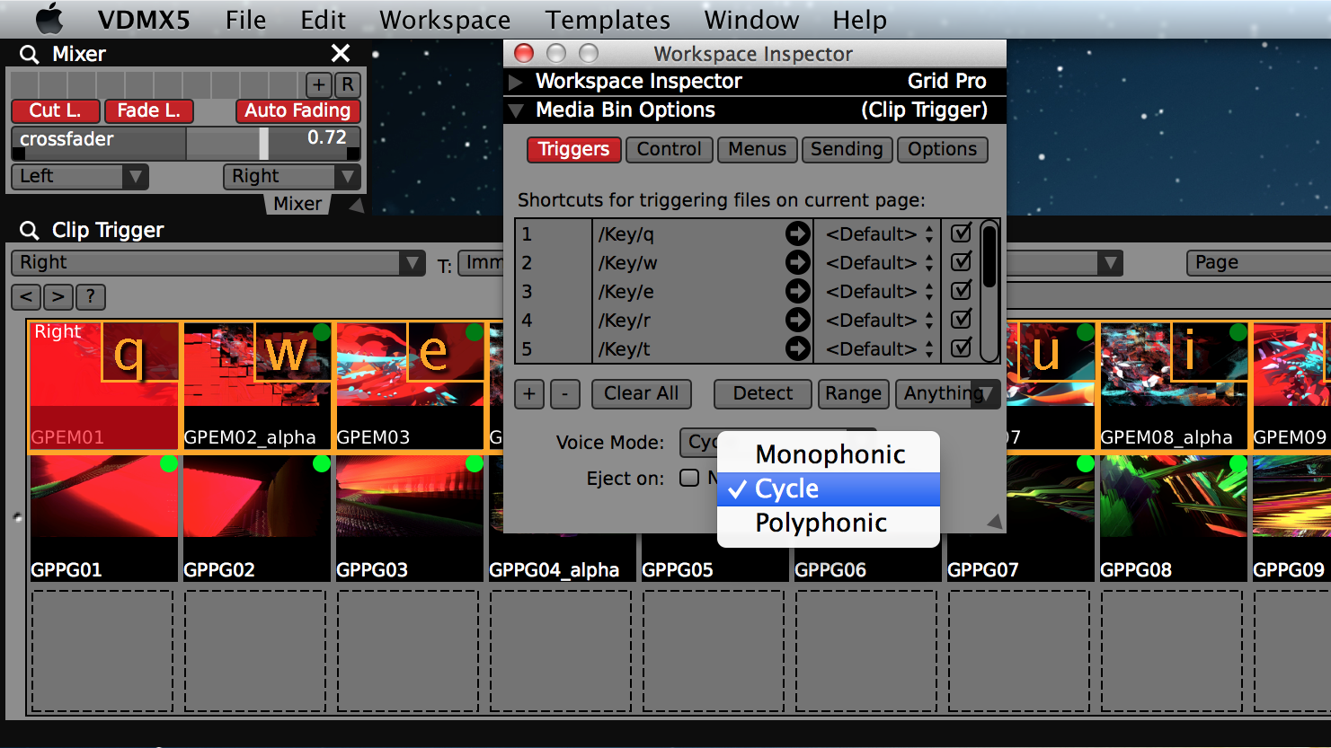 Set the voice mode of the 'Media Bin' to 'Cycle' and use the 'Auto-Fade' option in the Two Channel mixer for transitions.