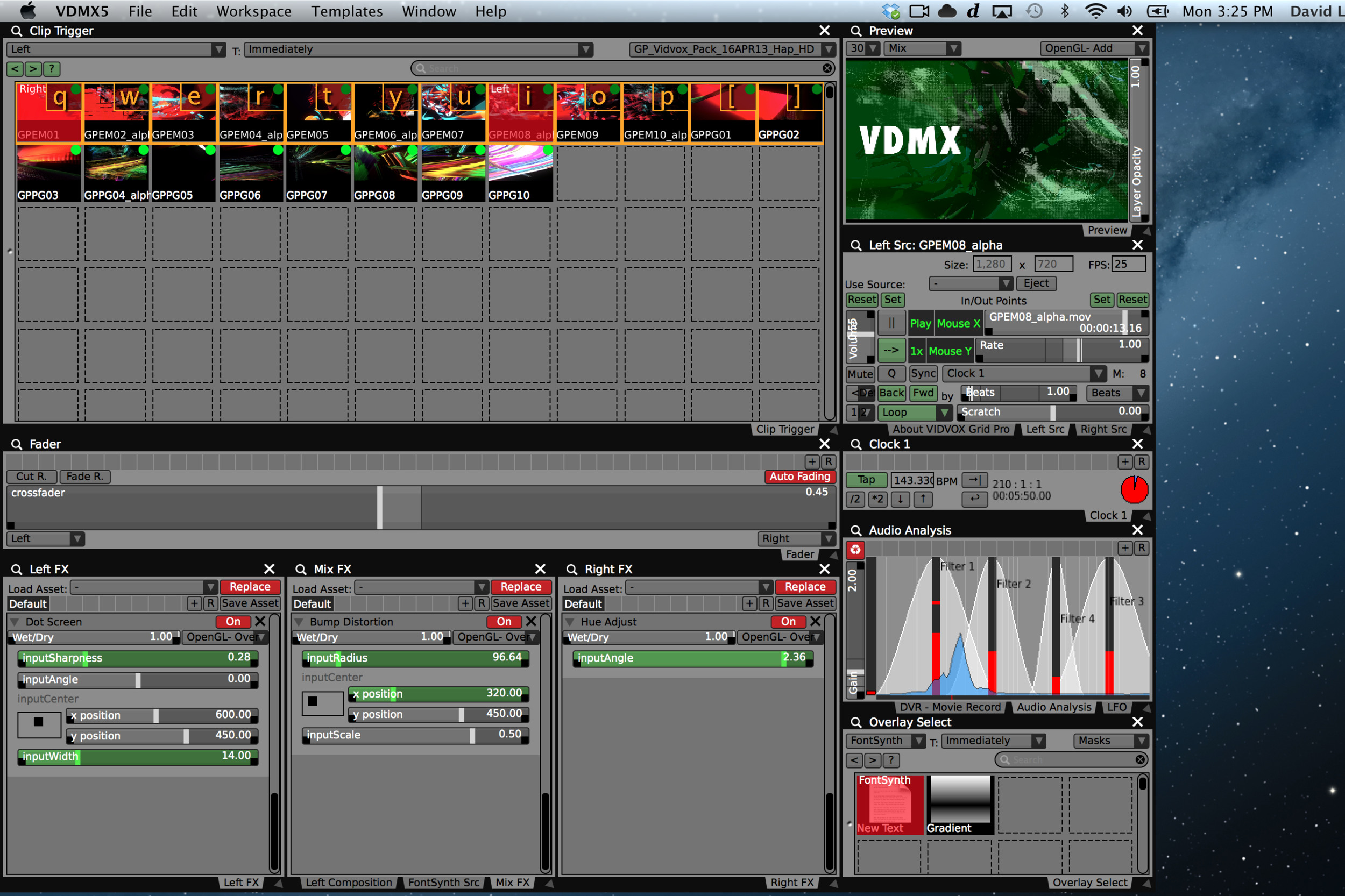 Completed Grid Pro template for VDMX.