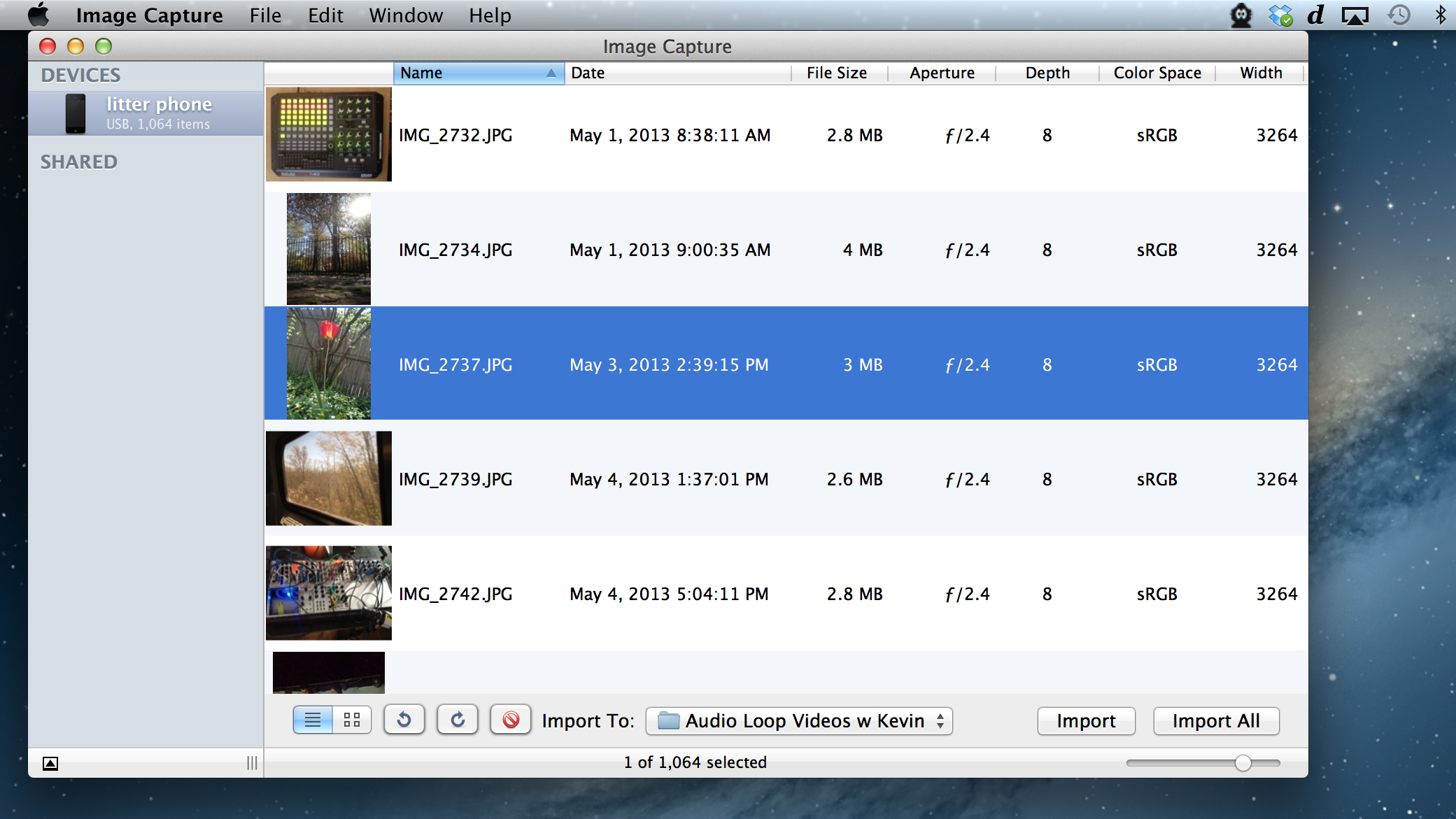 Use the free 'Image Capture' utility, iPhoto, or DropBox app to copy movies and images from the iPhone or iPad camera.
