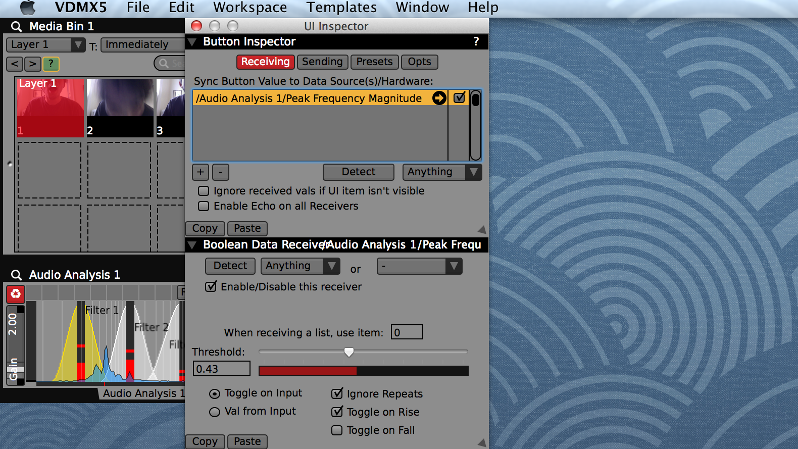 Previous, Next and Random clips can be triggered using buttons in the main Media Bin interface.