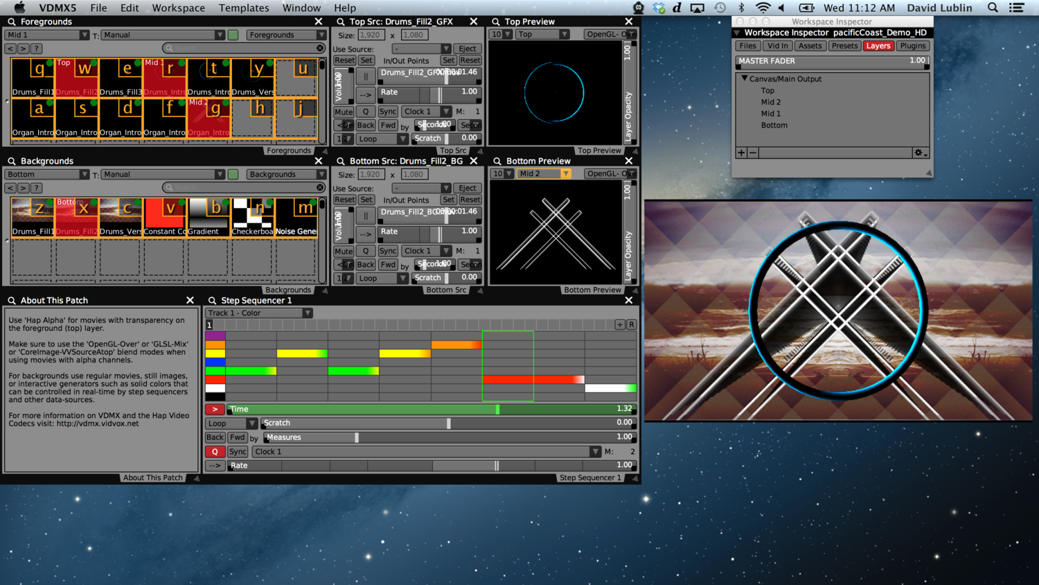 Mixing multiple layers of HD video with alpha channels in VDMX.