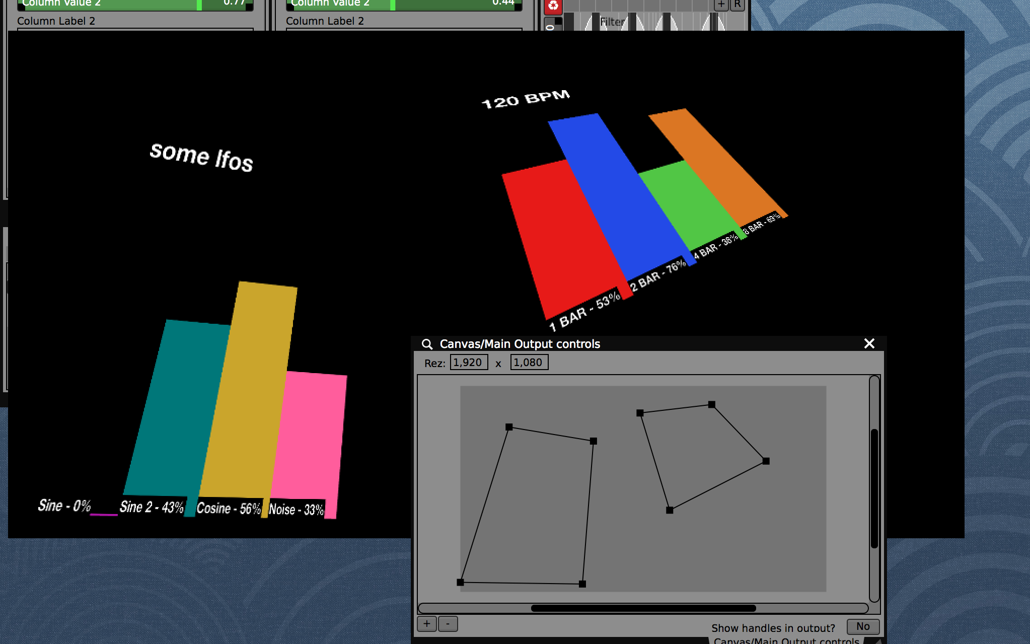 Enable 'Quad' mode in the Layer Composition to applyperspective correction for basic projection mappingof the graphs onto surfaces.