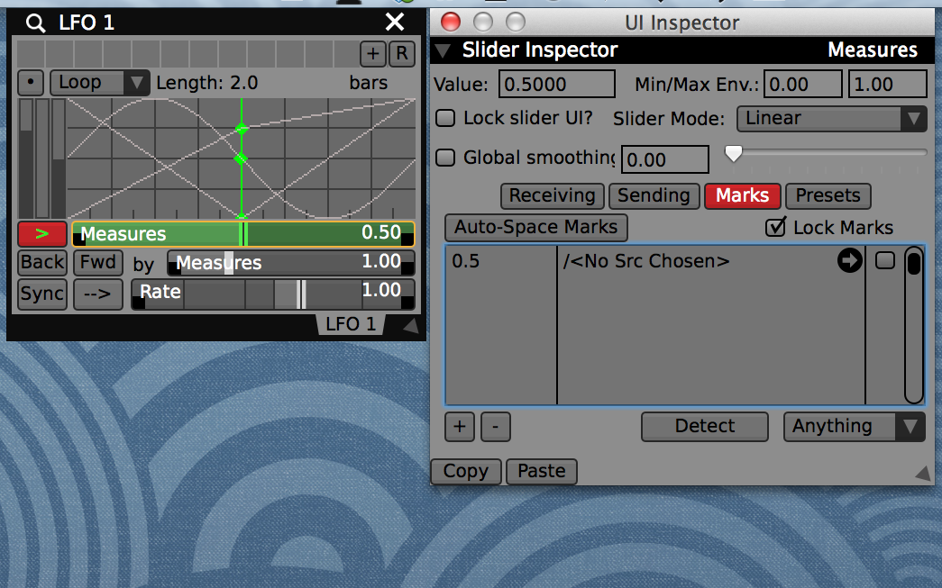 """From the UI Inspector add a """"Mark"""" at the 0.5 position on the time slider to easily jump to the exact center value by mouse click."""