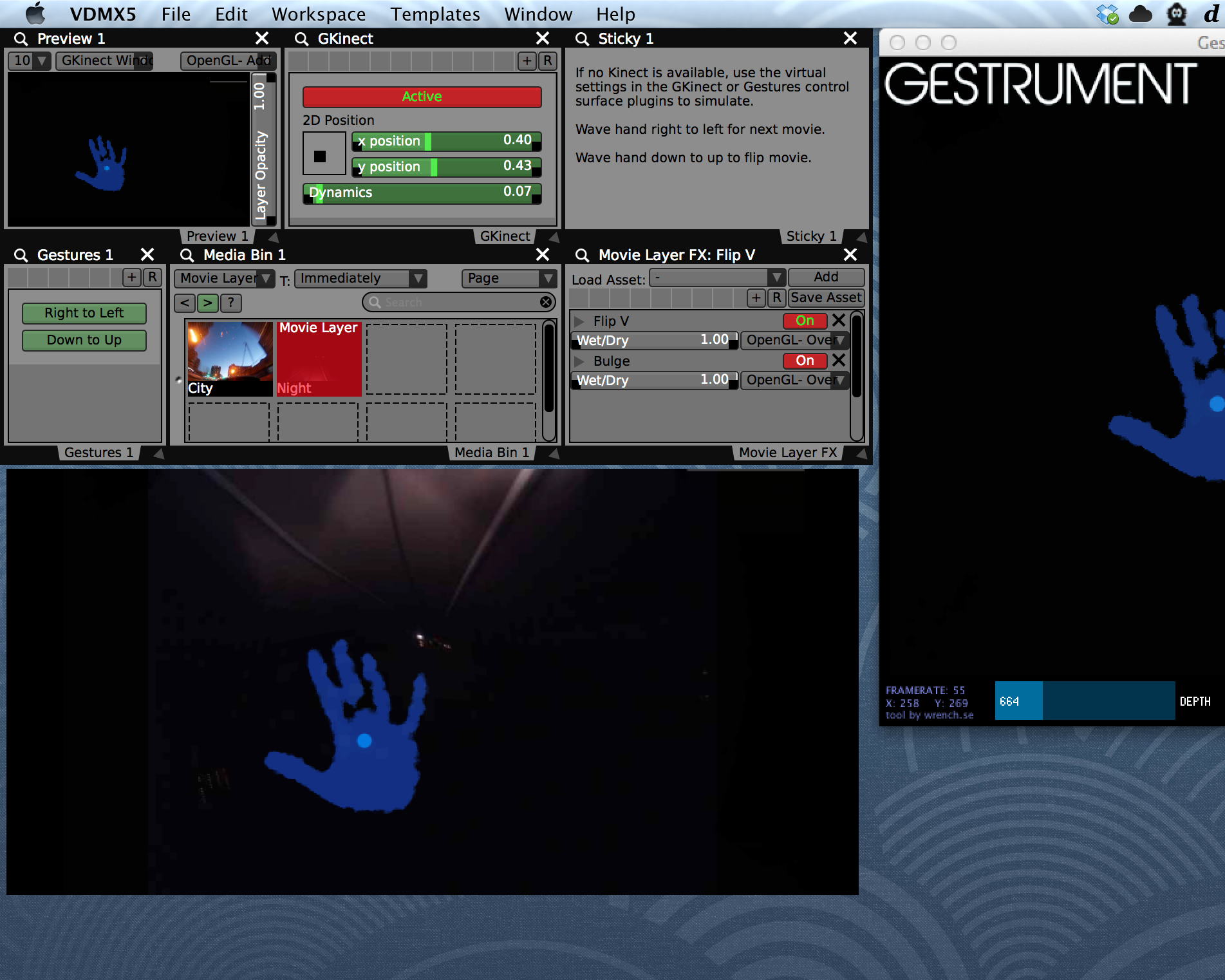 Completed VDMX project with 'Right to Left' and 'Bottom to Top' hand wave gestures.