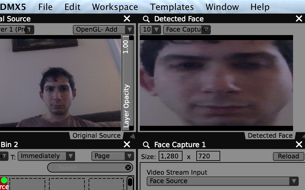 "The example ""Face Capture"" plugin finds a face and crops it out from its original frame for use in VDMX."
