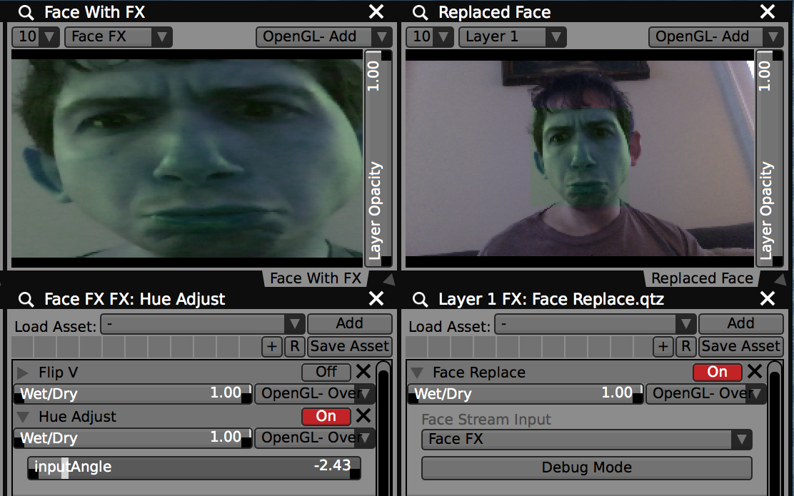 "Use the ""Face Replacer"" FX to replace a detected face with an alternate video stream."