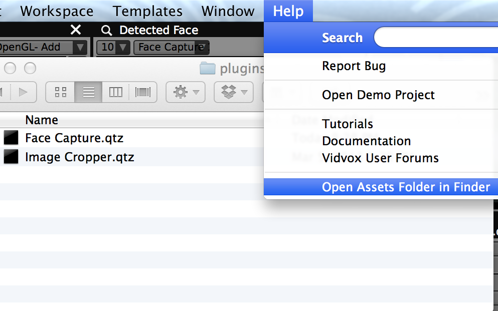 Quickly open the VDMX Assets folder from the Help menu to reveal the plugins and qcFX folders.