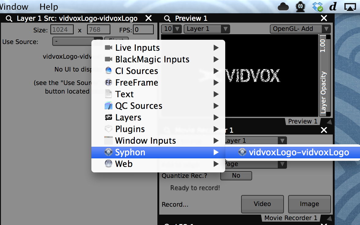 Also control and capture the output from custom applications with OSC and  Syphon .