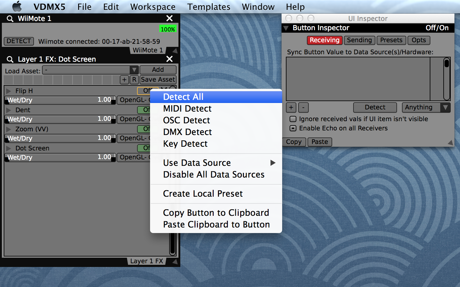 VJing with a WiiMote game controller in VDMX — VDMX - MAC VJ