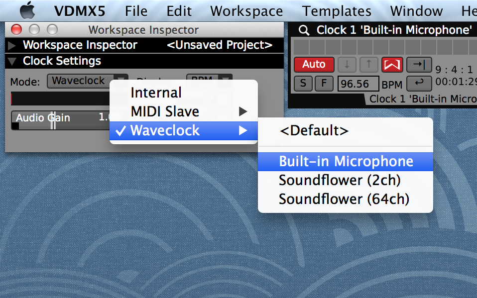 Click the Wavesum logo to enable BPM detection. In the Workspace Inspector, customize the audio input settings used for analysis.