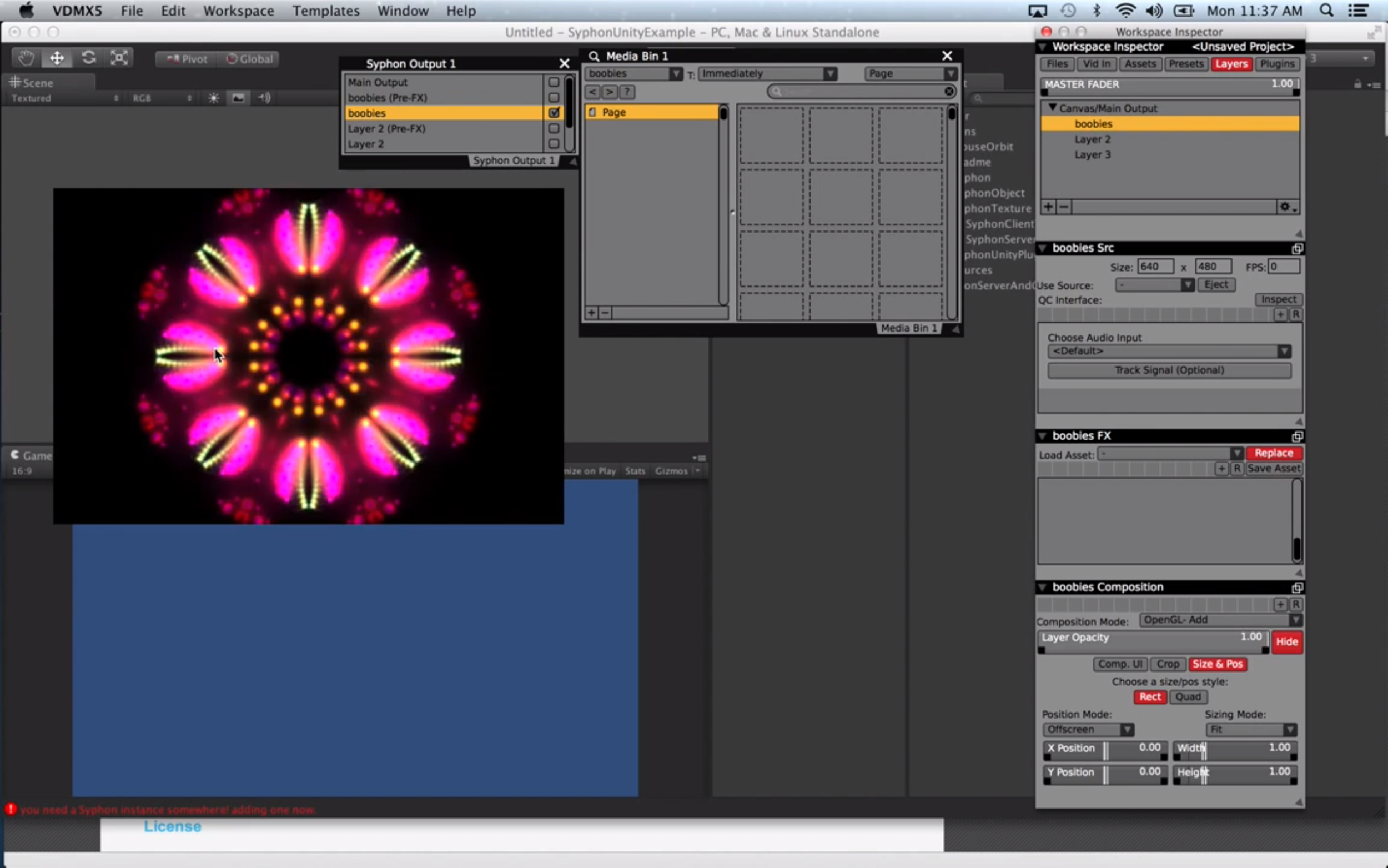 The  Syphon Output plugin  in VDMX publishes video layers to use in other applications.