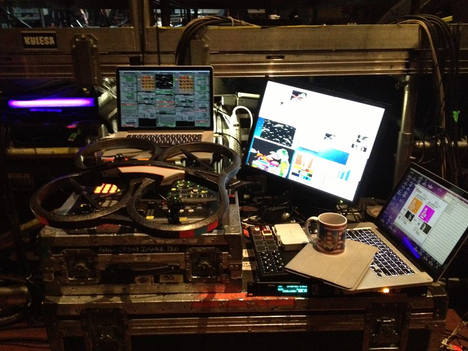 Alejandro's VJ rig, MIDI, cameras, and software all routed through VDMX.