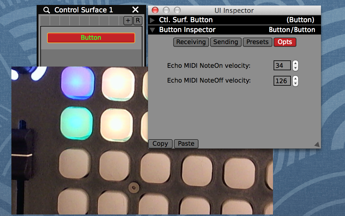 "Set custom note on / off velocity values in the ""Options"" tab of the inspector to match the available LED colors on your MIDI controller."