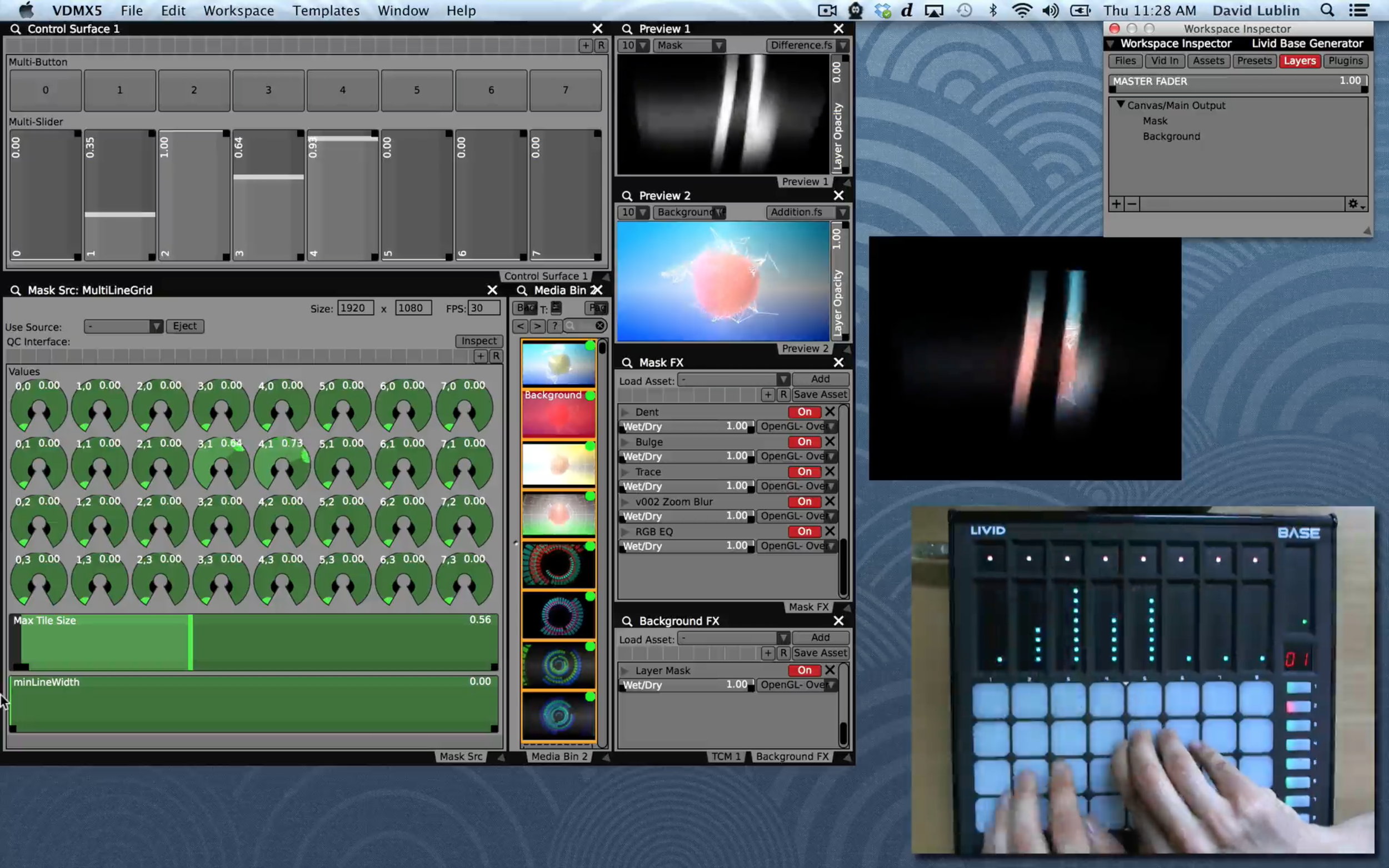 A video synthesizer in VDMX mapped to the Livid Base MIDI controller.