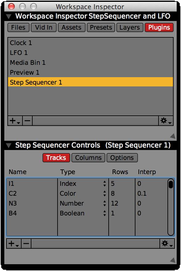 L'inspecteur du plugin Séquenceur à pas avec 4 pistes,un pour chaque type.Utlisez la colonne 'Nom' afin de changer les titres de chaque piste.