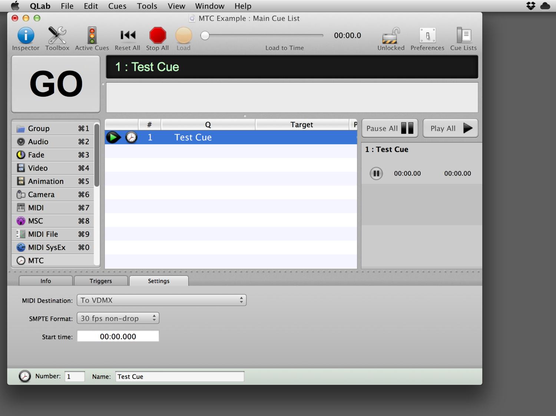 """QLab avec une indication active MTC """"MTC Cue"""" envoyant """"a VDMX"""""""