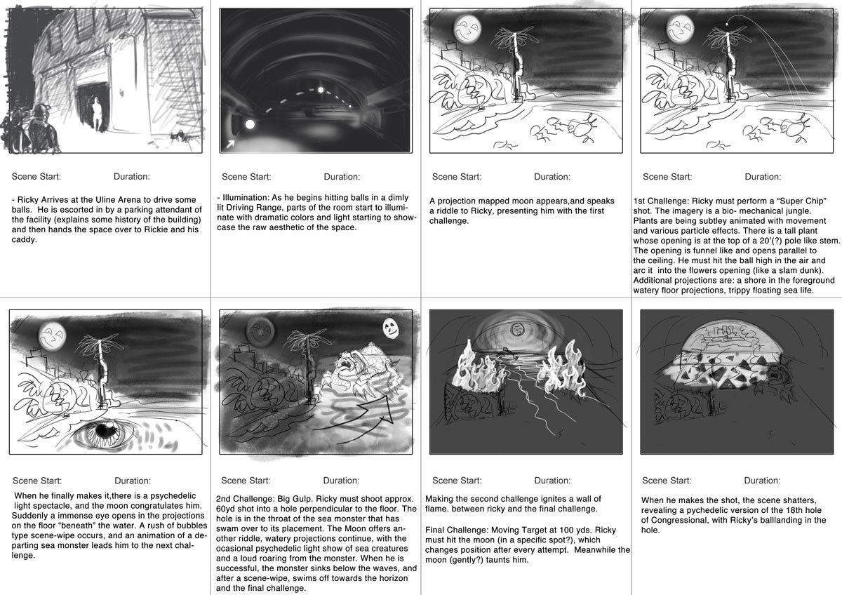 Initial storyboard from start to finish