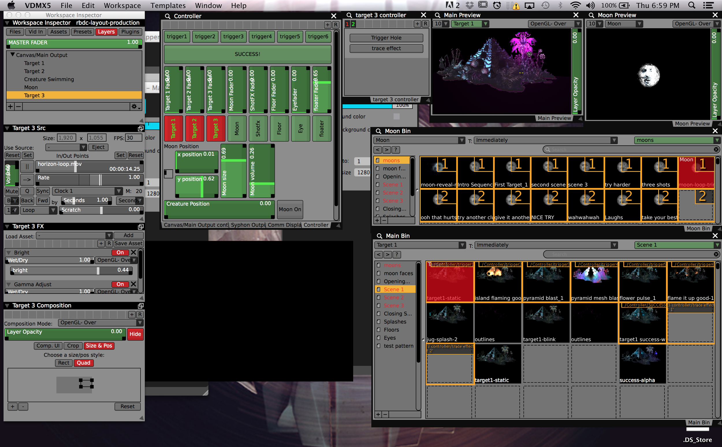 Sliders and buttons from TouchOSC mapped to clips and playback controls in VDMX