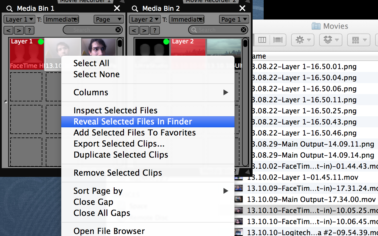 """Right-click on clips and choose """"Reveal Selected Files In Finder"""" to locate recordings."""