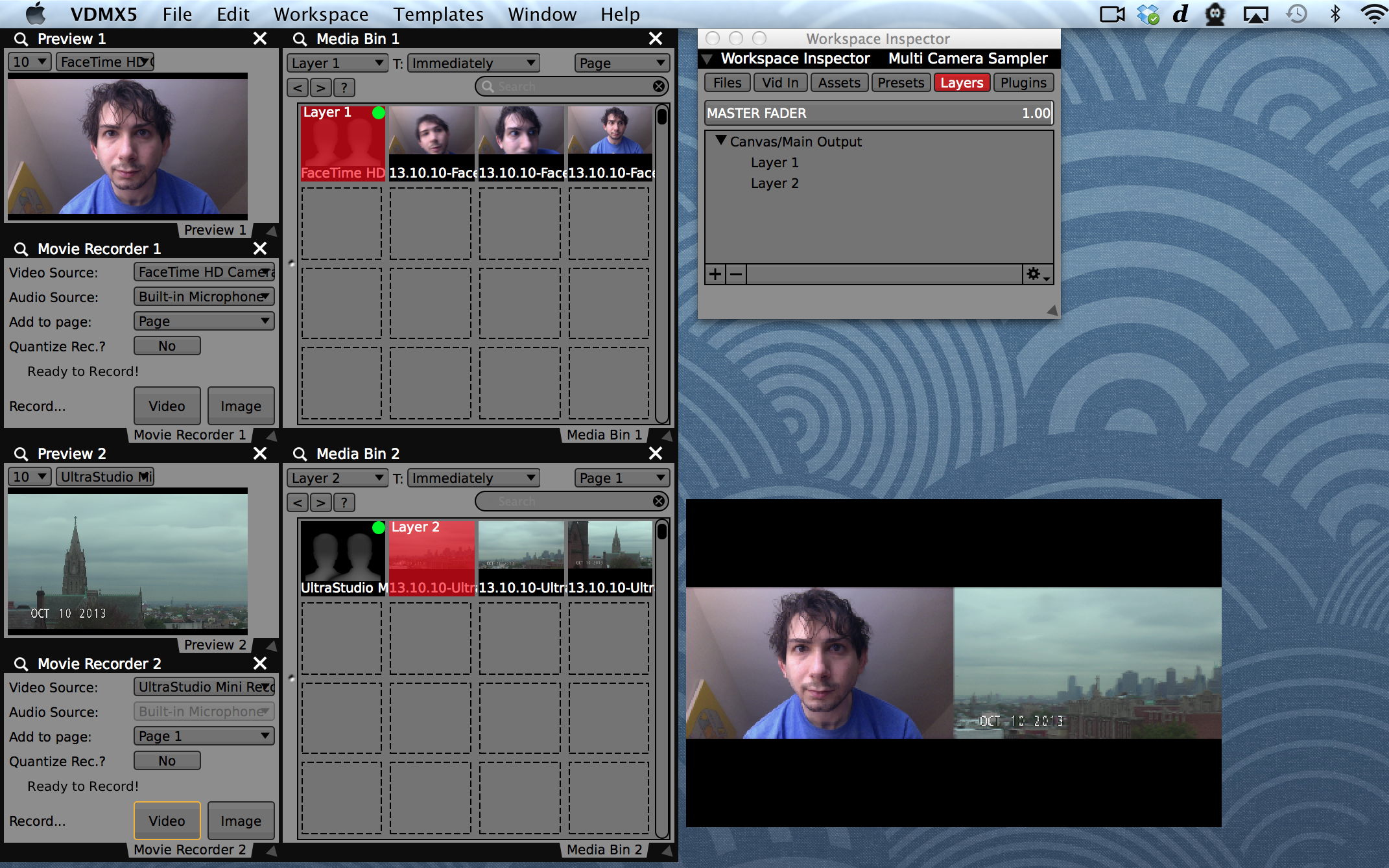 Customize the layout of the preview, recorder, and media bin for each input.