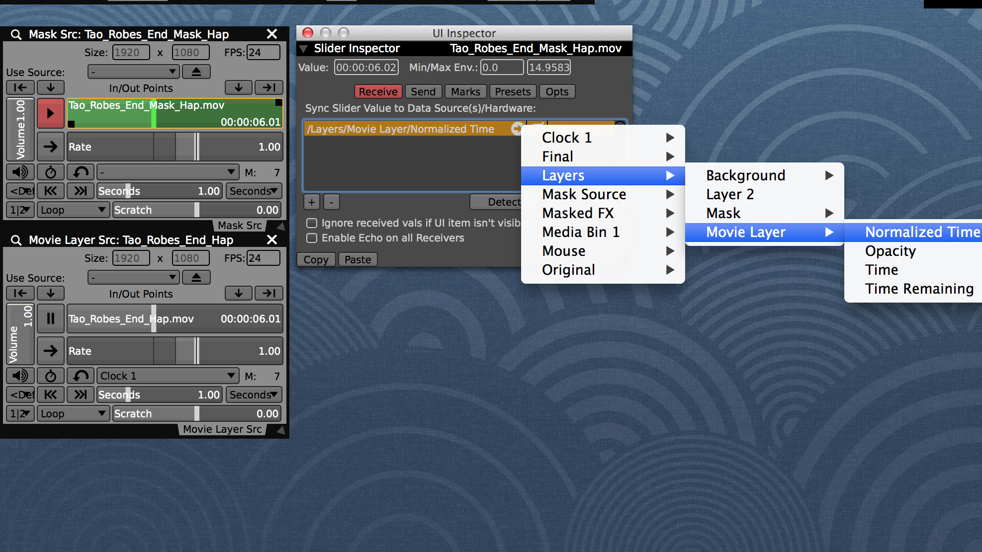 Sync the playhead of the masking layer source to the movie layer time.