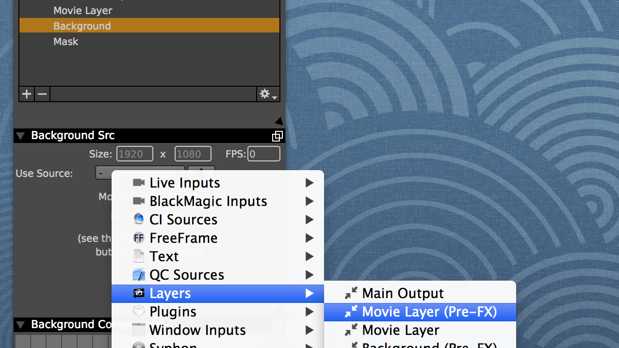 Set the background to receive the movie layer output before any FX are applied.
