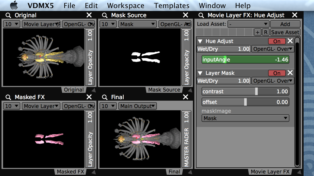 Preview windows showing each layer and how they are combined for the final output.