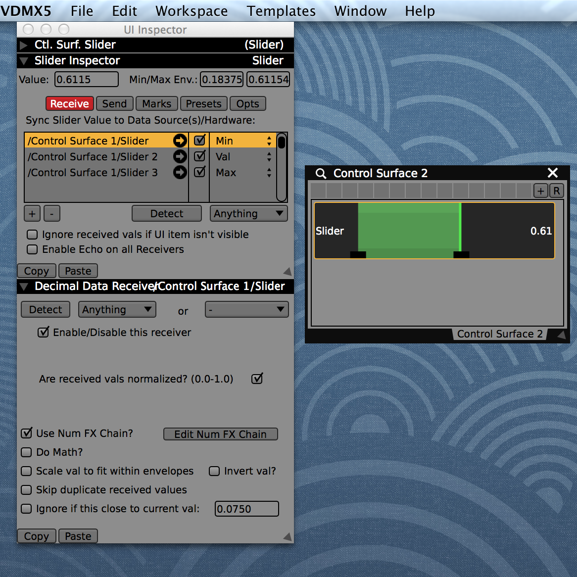 Click on a slider to inspect it in the UI Inspector. Use the '+' button to create a new receiver.