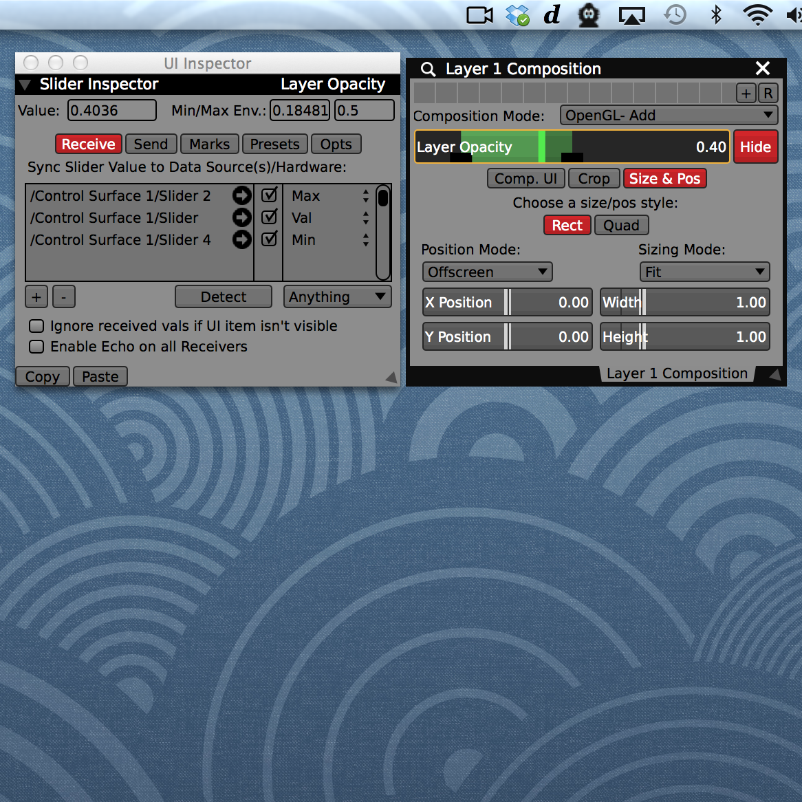 Receivers can adjust the slider value, or its min / max envelope handles positions.