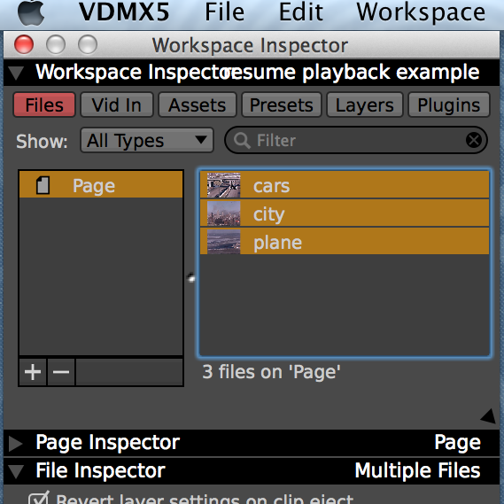 Multiple clips can be inspected simultaneously in the File Inspector.