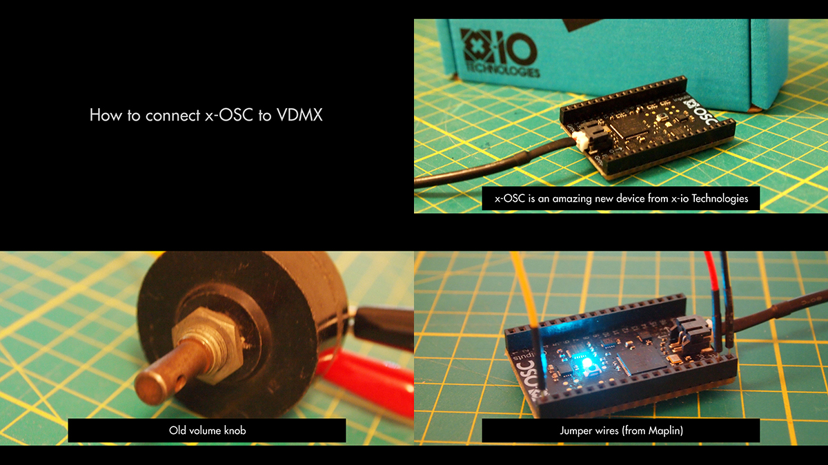 Hardware used for this tutorial: an old potentiometer (pot) connected to x-OSC with 3 jumper wires and 3 crocodile clips.