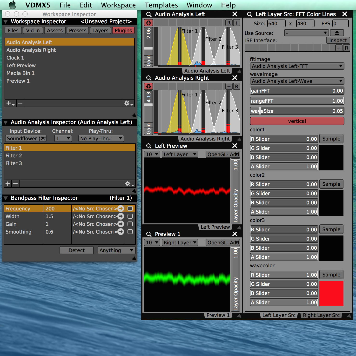 Multiple audio analysis plugins can be used to visualize different devices and channels.