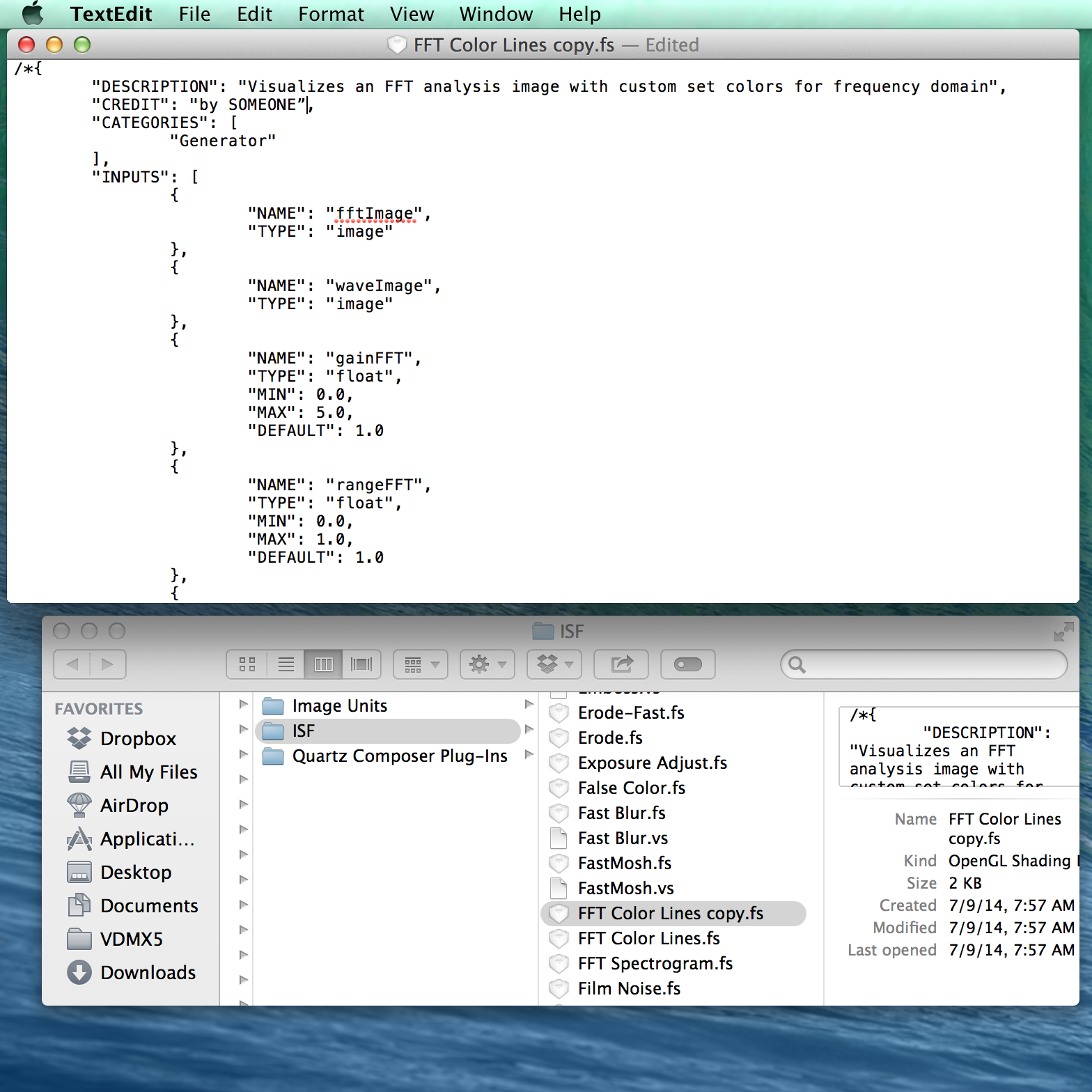 Create your own  ISF based visualizer styles  using a text editor.