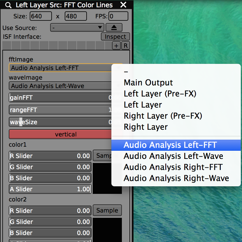 Audio Analysis FFT and Waveform values are available as video inputs to ISF sources and FX.