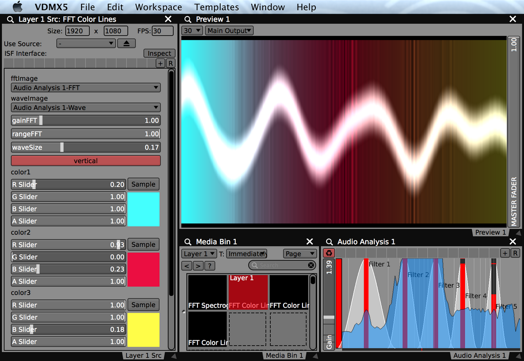 Example FFT Color Lines VJ visualizer