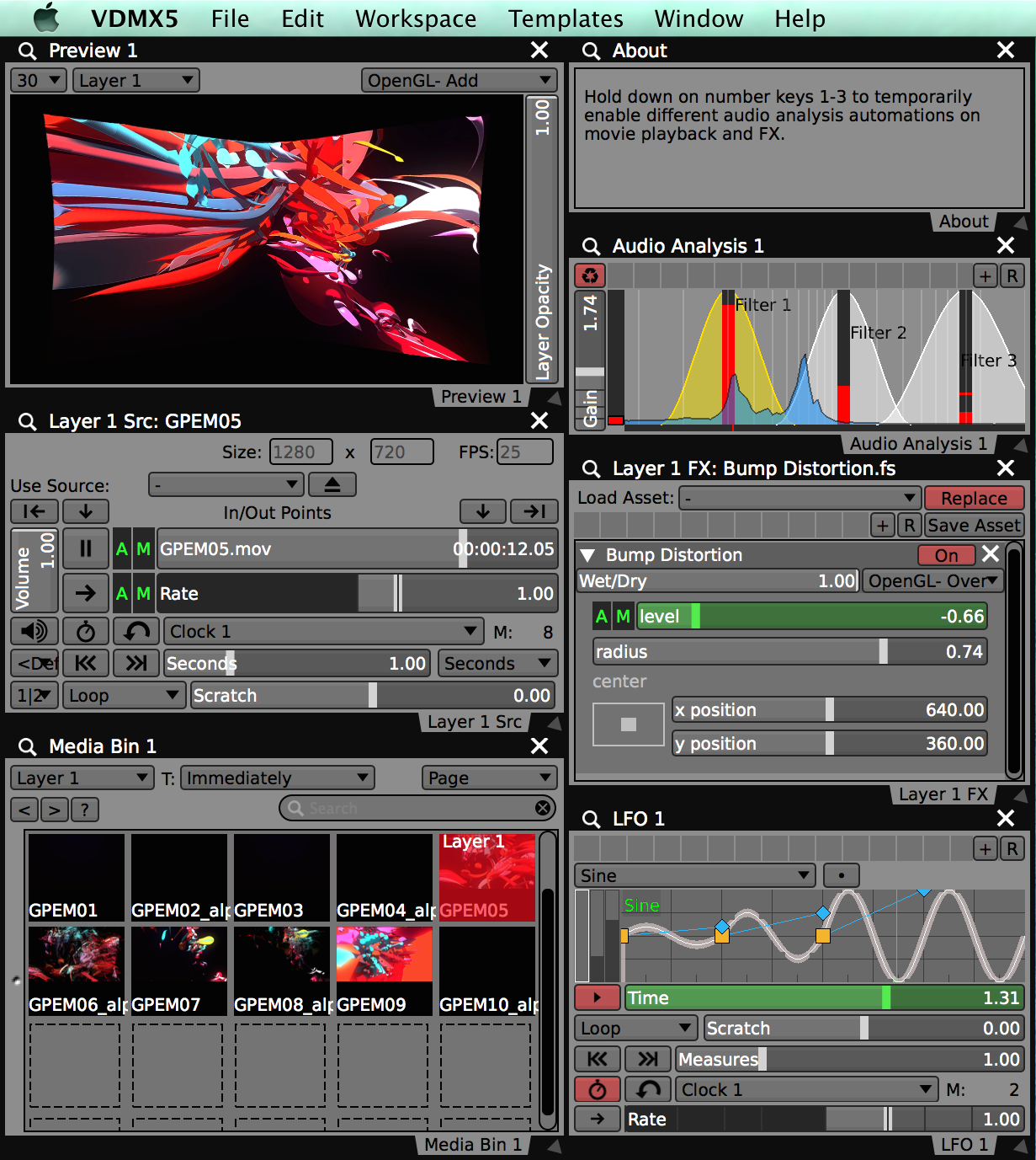Audio analysis used to drive LFO and movie rate sliders to create complex FX behaviors.