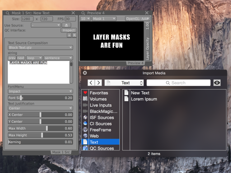 Text layers and other built in sources are also useful as mask generators.