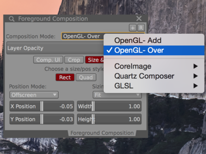 Use the OpenGL-Over composition mode on foreground and overlay layers.