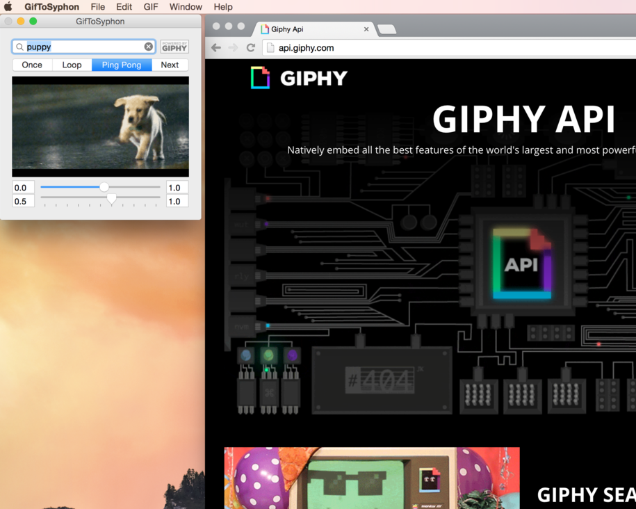Search the huge  GIPHY  library.